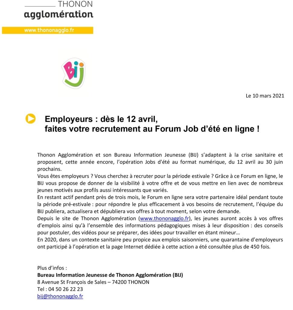Employeurs, faites votre recrutement au Forum Job d'été en ligne! 2